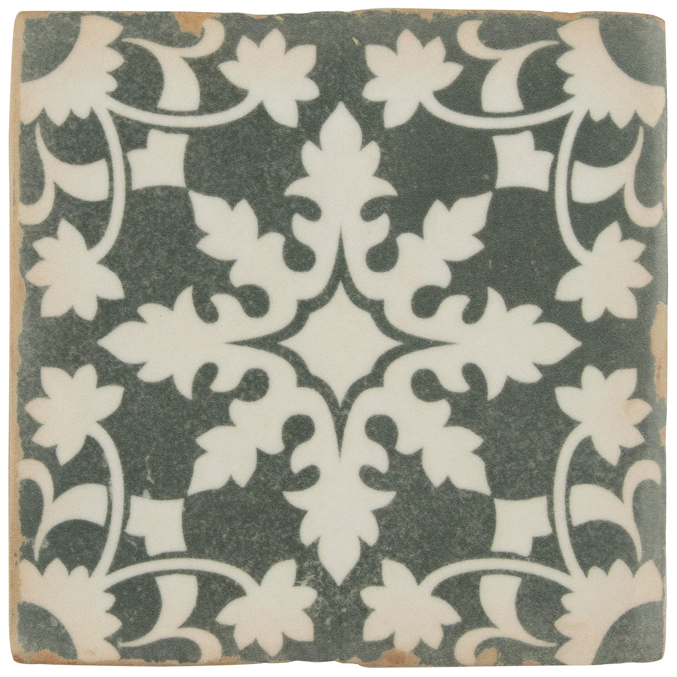 SomerTile FPEARCZH Modele Ceramic Floor and Wall Tile, 4.88'' x 4.88'', Zahra FPEARCZH Tile, 4.875'' x 4.875'', Grey/Cream/White/Brown, 32 Piece