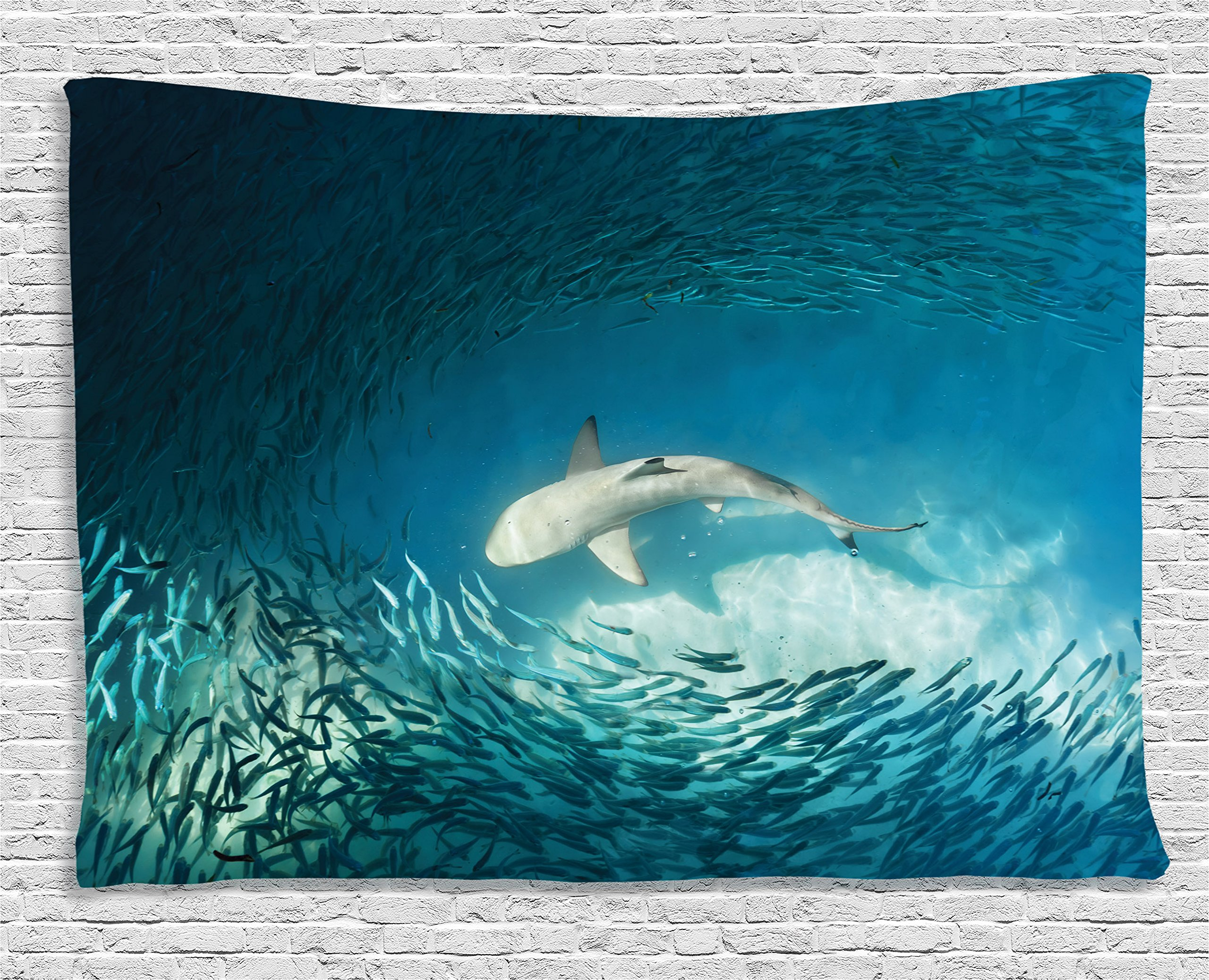 Ambesonne Sea Animals Decor Taapestry, Shark and Small Fish in Ocean Wilderness Waterscape Wildlife Nature Theme Picture, Wall Hanging for Bedroom Living Room Dorm, 80 W X 60 L, Teal and Beige
