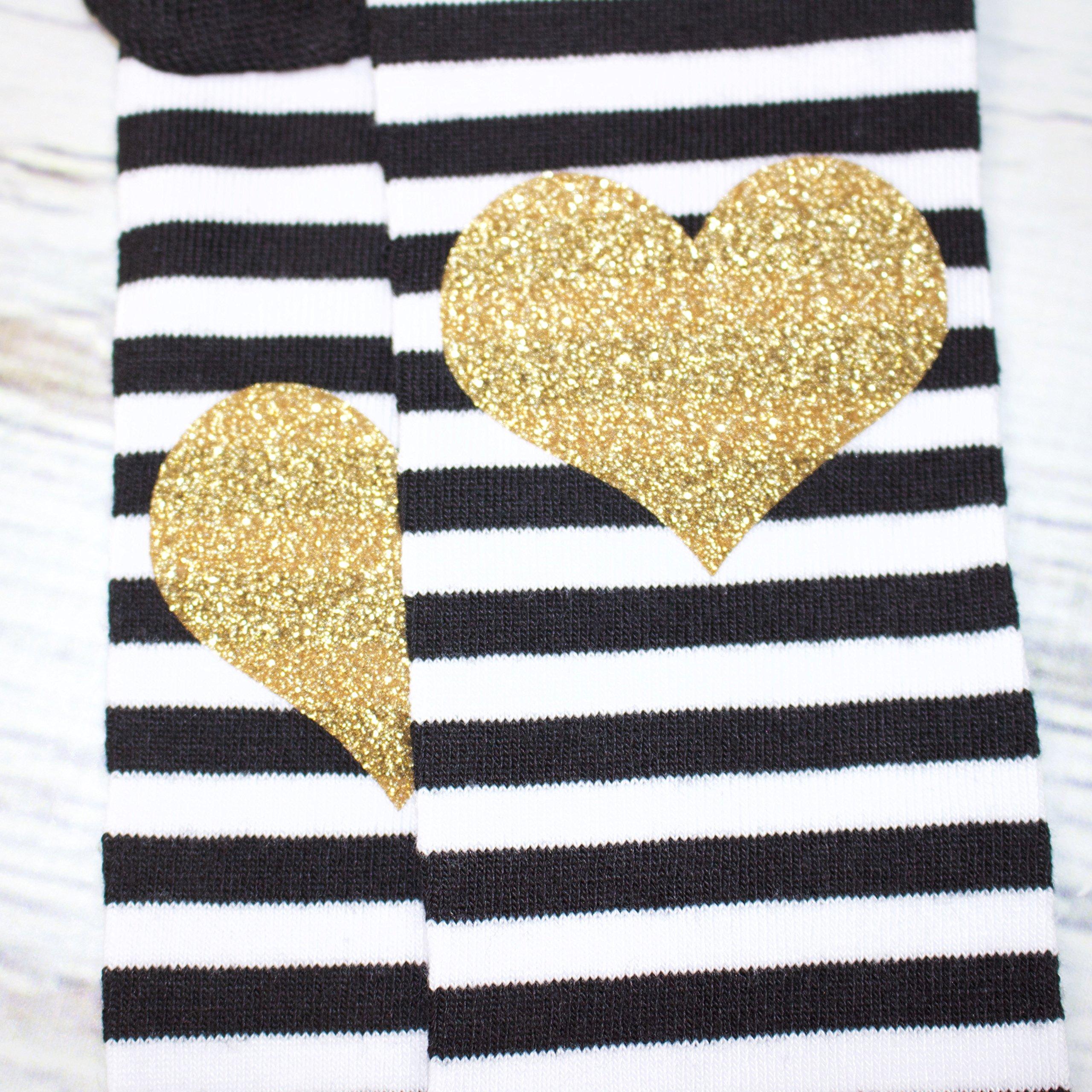 Gold Glitter Heart Black and White Stripe Ruffle Baby Leg Warmer by Olive Loves Apple (Image #3)