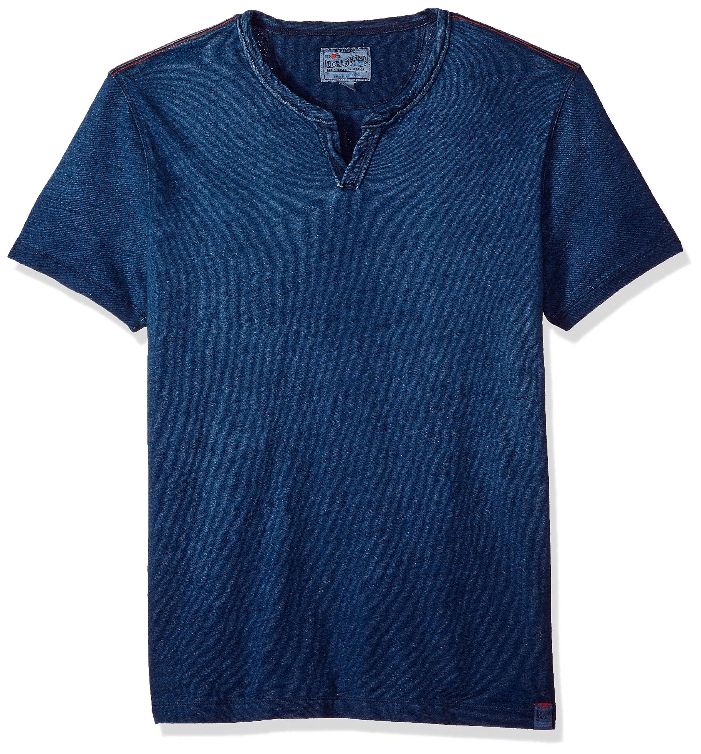 Lucky Brand Men's Notch Neck TEE Shirt, Medium Indigo, M