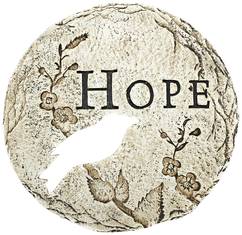 Roman Bird Cut-Out Hope Decorative Patio Garden Stone, 12-Inch
