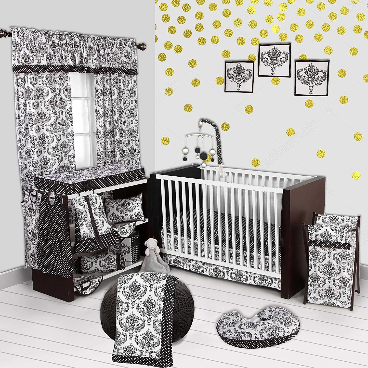Bacati - Classic Damask White/Black 10 Pc Crib Set with 2 Crib Sheets (Bumper Pad not Included) 100 Percent Cotton.