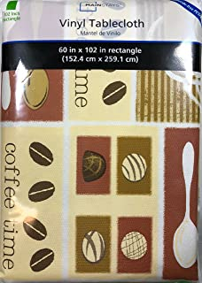 Good Mainstays Coffee Time Vinyl Tablecloth 60 In. X 102 In. Rectangle Brown  Beige