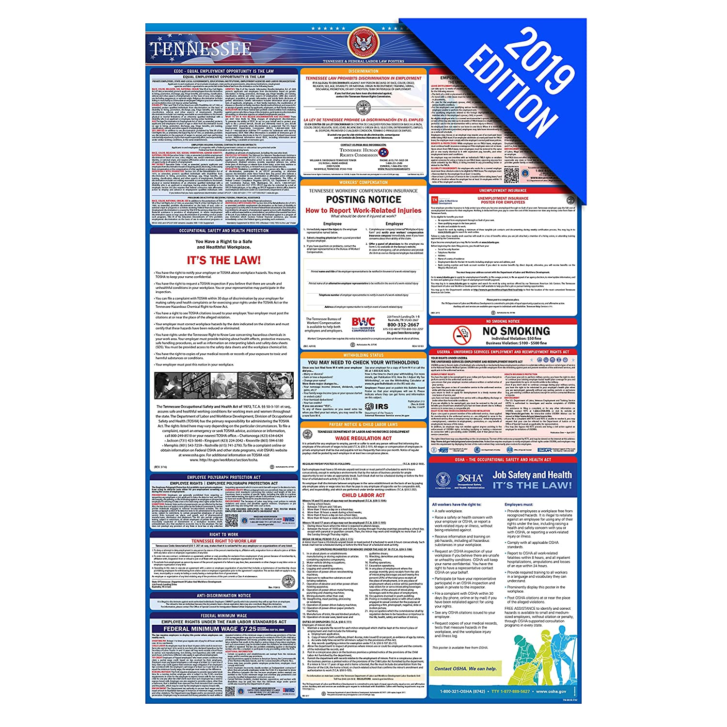 Amazon 2019 Tennessee Labor Law Poster State Federal Osha
