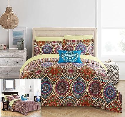 Amazoncom Chic Home 8 Piece Chennai Reversible Boho Inspired Print