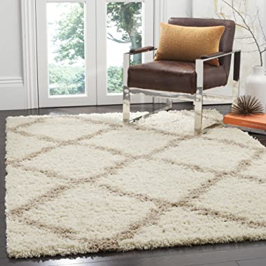 Safavieh Dallas Shag Collection SGD257B Ivory and Beige Area Rug (6' x 9')