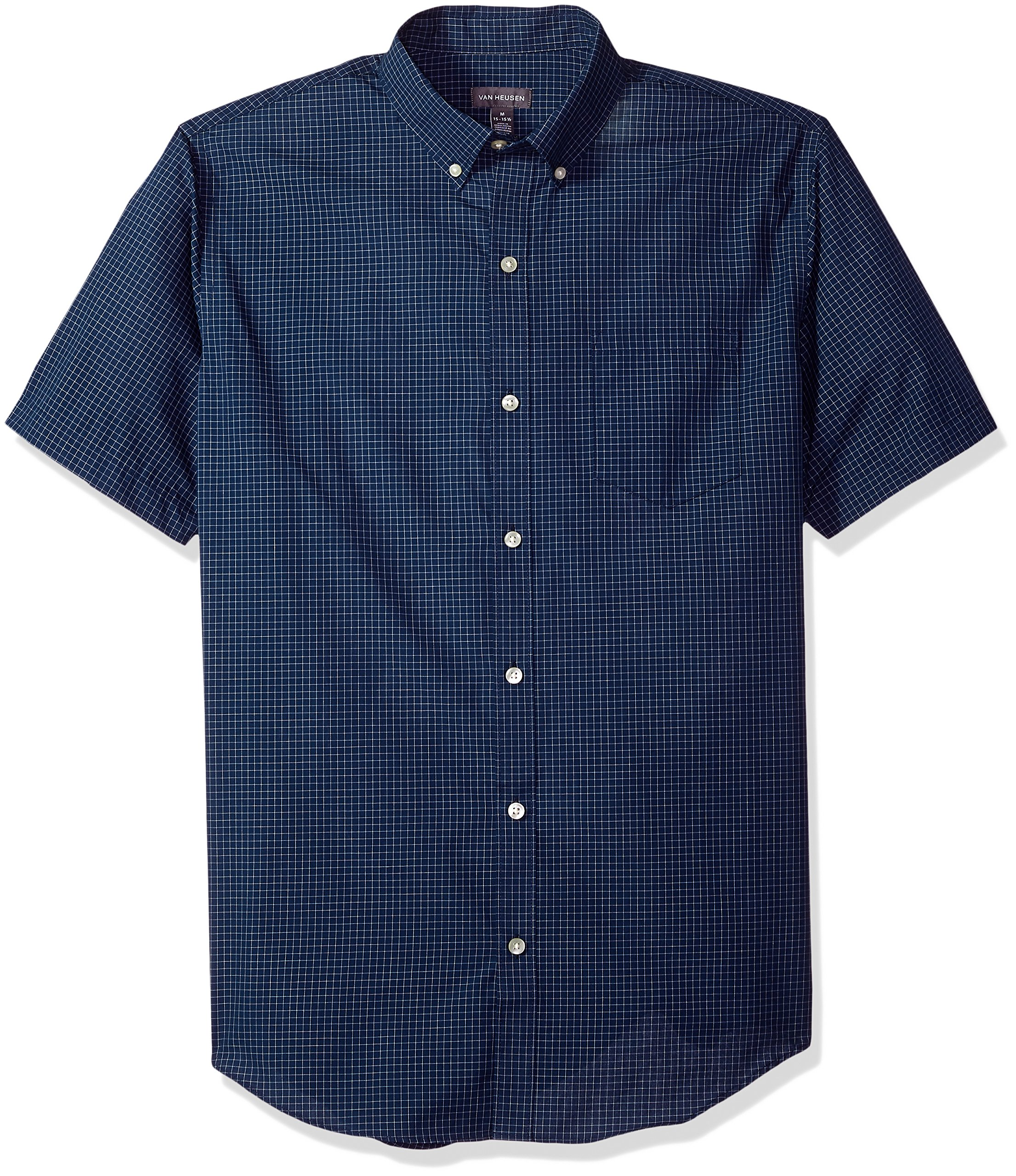 Van Heusen Men's Wrinkle Free Short Sleeve Button Down Shirt, Carbon Blue, Small