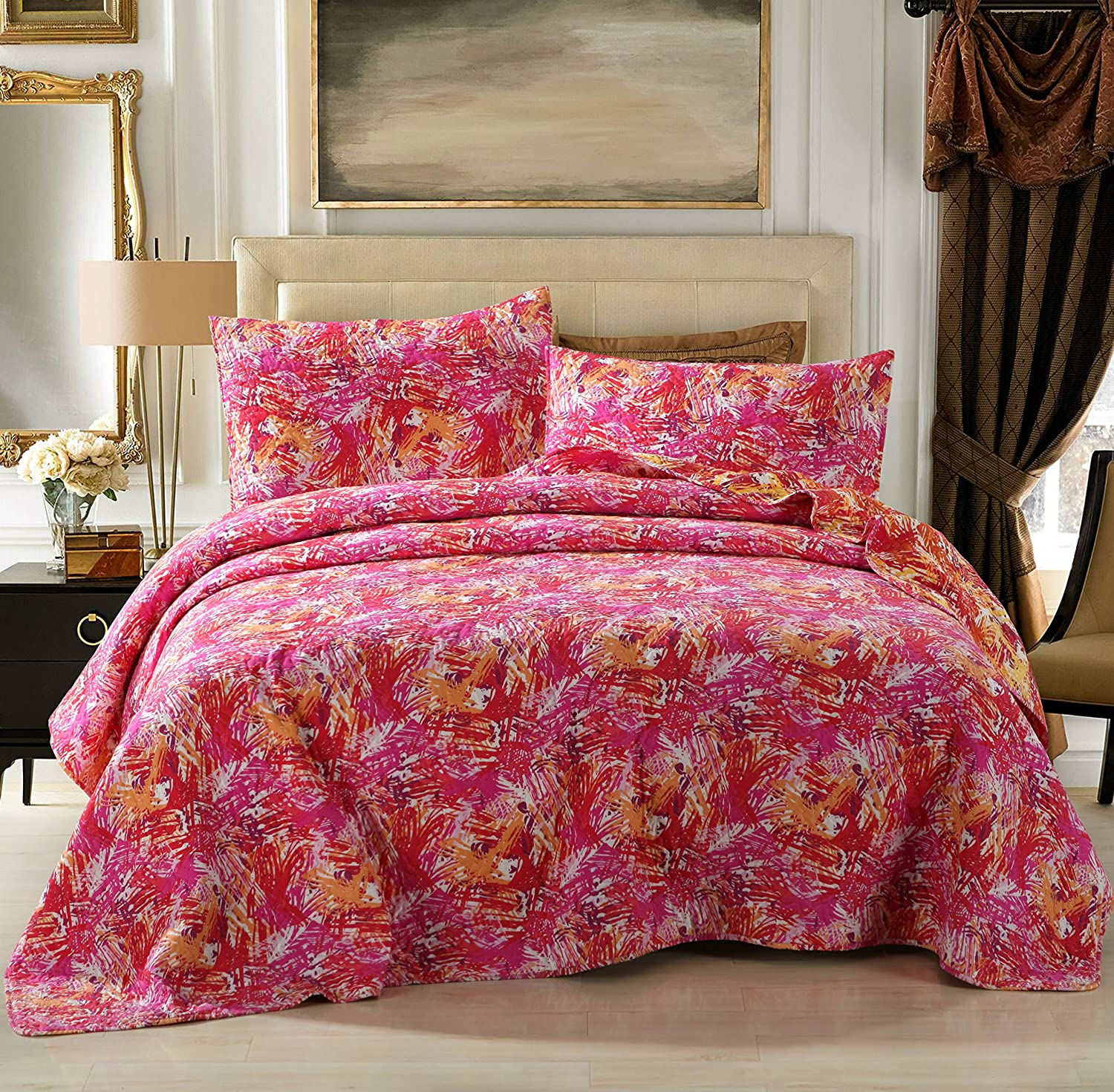 DaDa Bedding Hawaiian Breeze Reversible Quilted Coverlet Bedspread Set