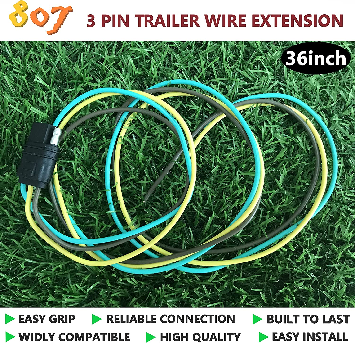 3 Way Flat Socket 3 Pin Traile Plug Connector 36inch for LED Brake Tailgate Light Bars,Hitch Light Trailer Wiring Harness Extension Connector 807 3 Way Flat Trailer Wire Connectors