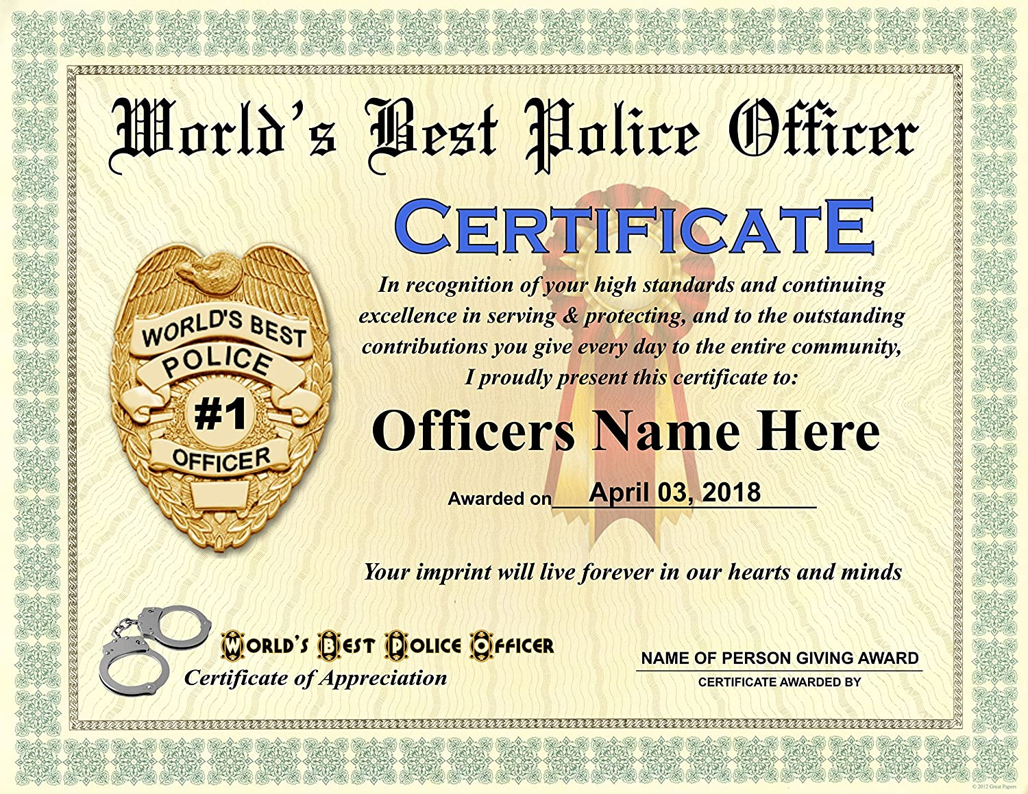 Amazon Worlds Best Police Officer Certificate Award Custom