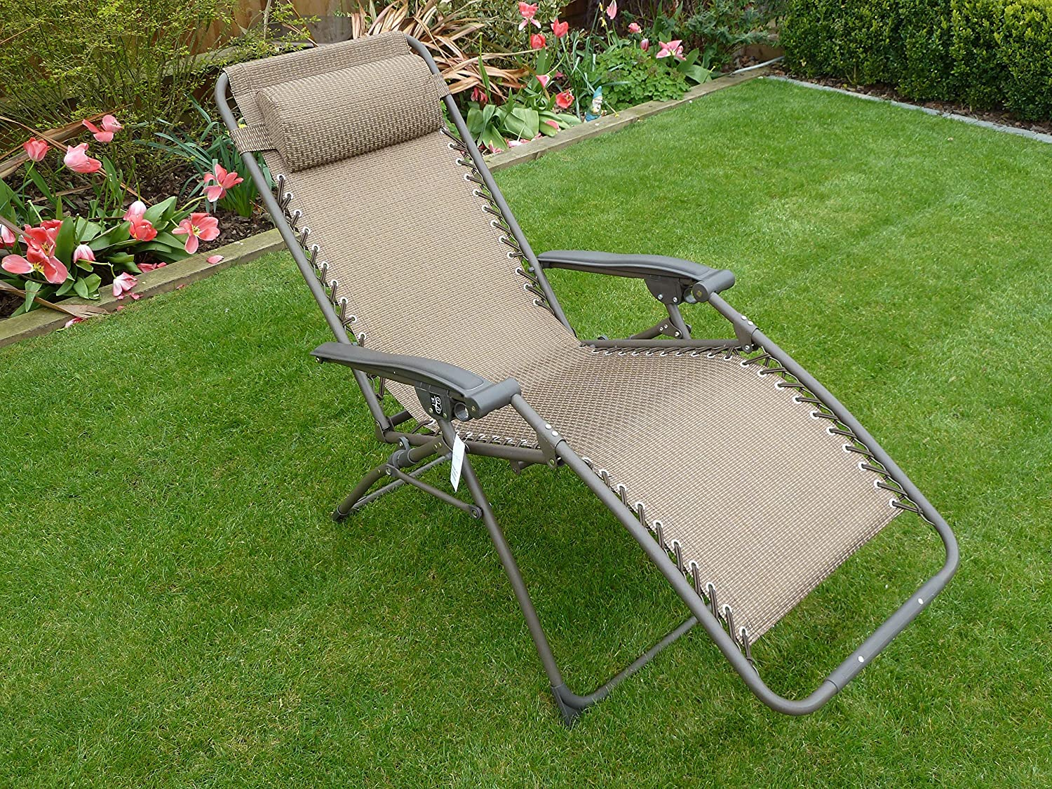 SET OF 2 Brown Garden Sun Lounger Relaxer Recliner Garden Chairs Weatherproof Textoline Folding And Multi Position With A Headrest Amazon.co.uk Garden u0026 ... & SET OF 2 Brown Garden Sun Lounger Relaxer Recliner Garden Chairs ... islam-shia.org