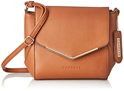 Caprese Yondella Women s Sling Bag (Saddle)  Amazon.in  Shoes   Handbags 8d4281aa62