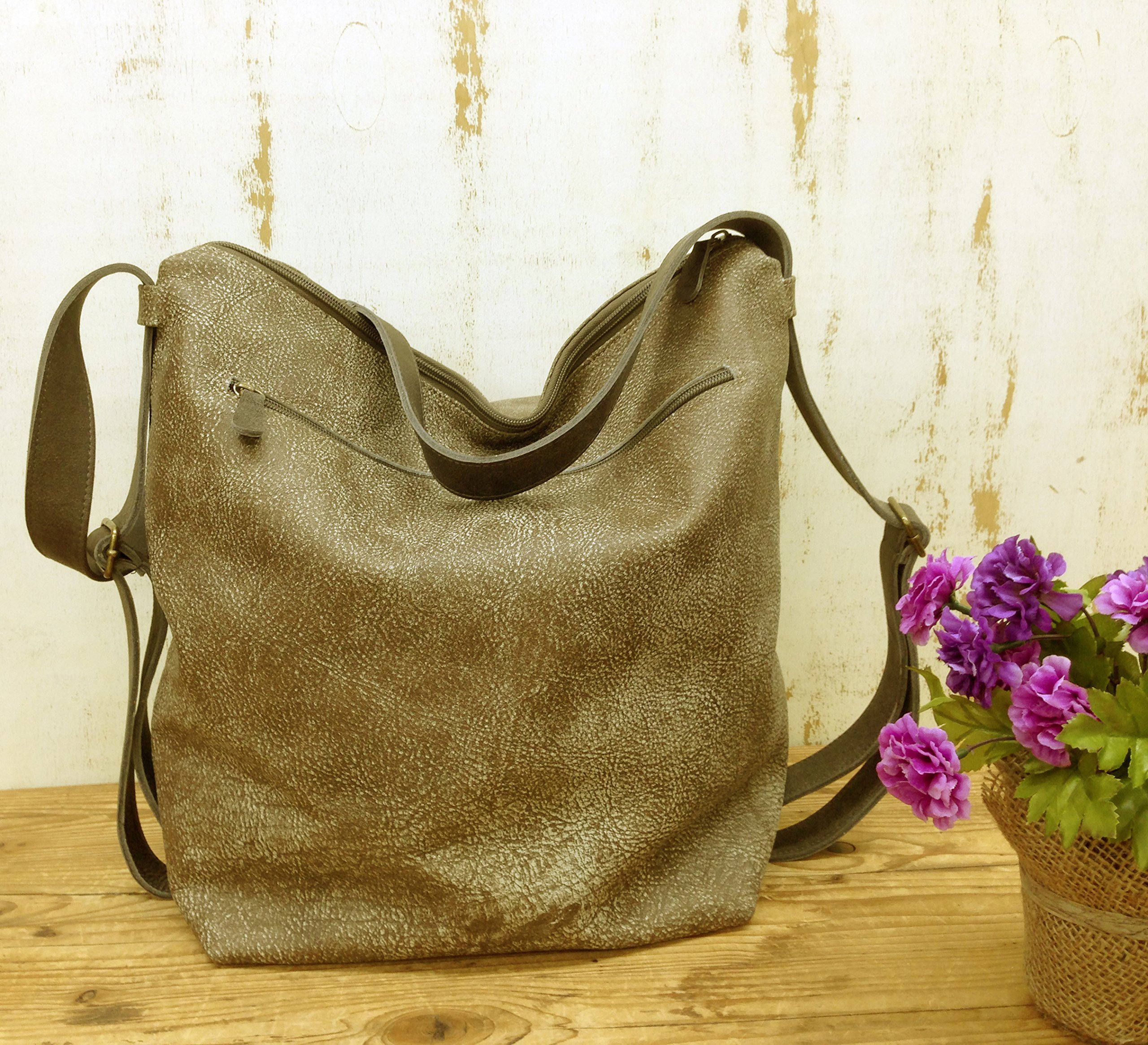 Leather shoulder backpack bag in Distressed taupe soft convertible purse