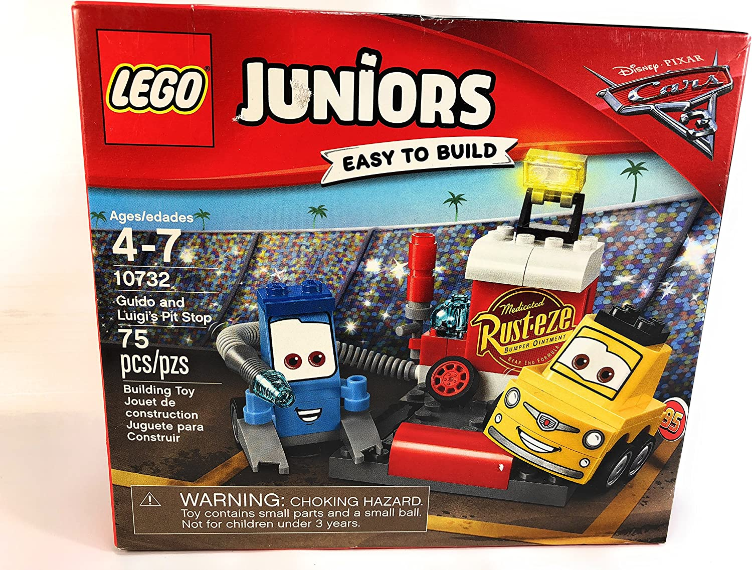 Lego Juniors Guido Luigis Pit Stop Disney Pixar Cars 3 Easy Build Models Kids