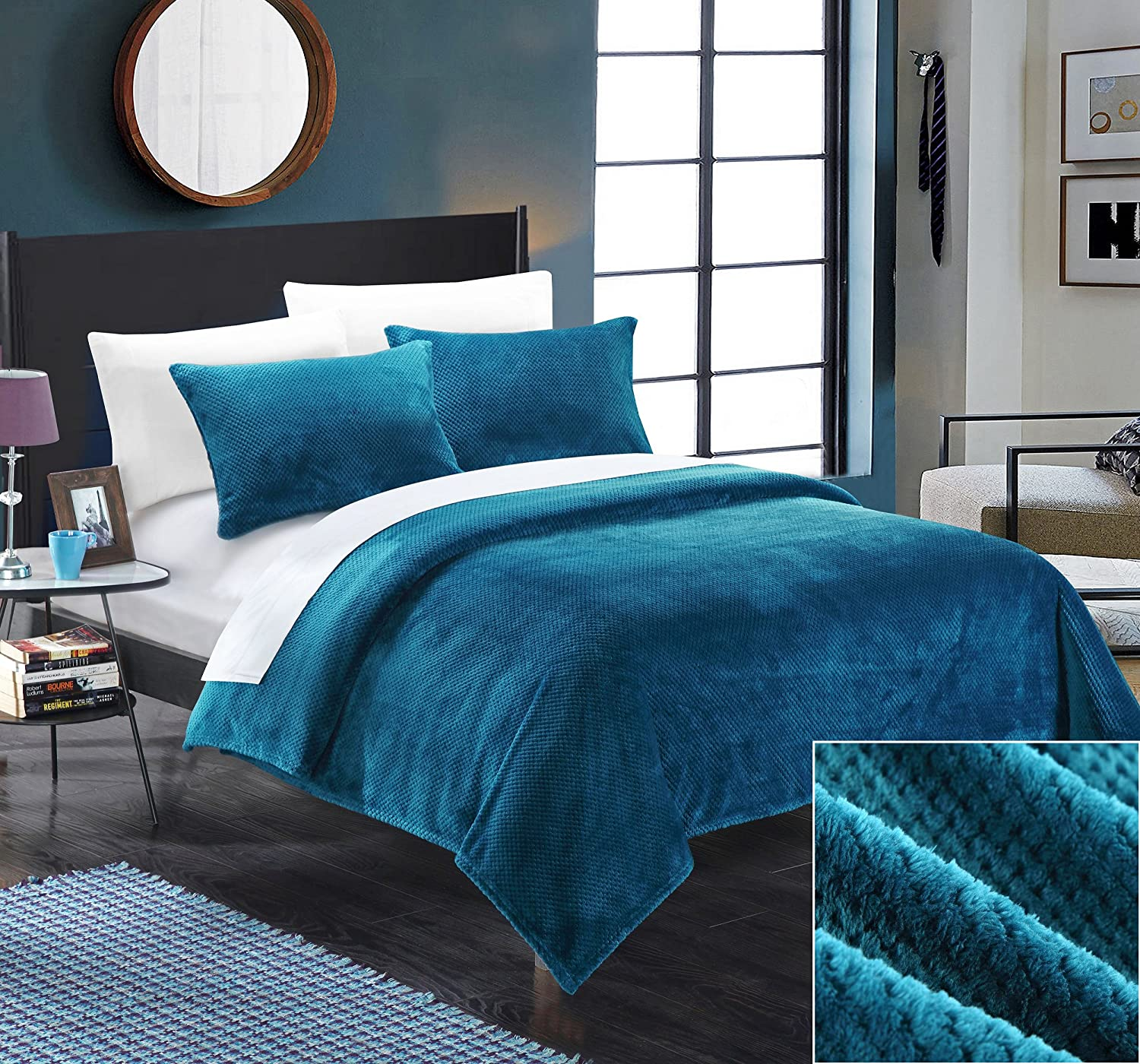 Chic Home SB1685-AN 3 Piece Luxembourg Ultra Plush Micro Mink Waffle Textured Blanket and Shams Set, Full/Queen, Teal