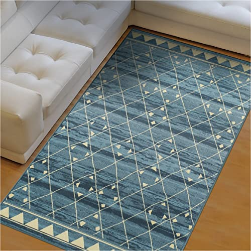 Superior Jarvis Collection Area Rug, 10mm Pile Height with Jute Backing, Fashionable and Affordable Rugs, Geometric Windowpane Pattern over Watercolor Stripes – 8 x 10 Rug, Blue and Beige