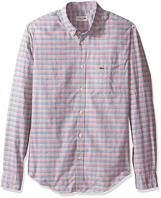 53000a10d1 Lacoste Mens Long Sleeve Oxford Multi Color Check Woven Shirt ...