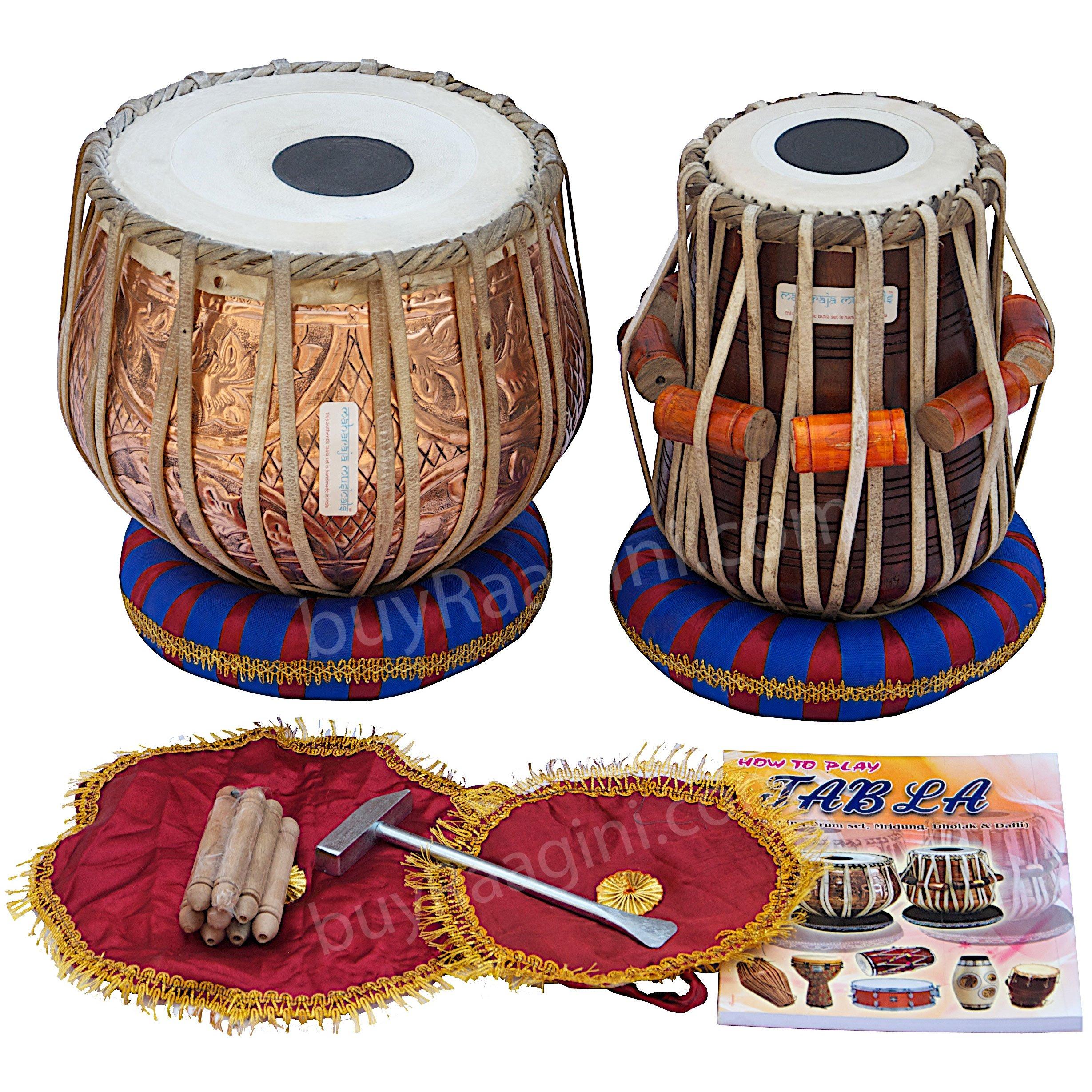 Tabla Drum Set, Maharaja Musicals, Professional, 3Kg Designer Copper Bayan, Sheesham Tabla Dayan, Padded Bag, Hammer, Cushions, Cover, Tuned Tabla Set (PDI-EB)