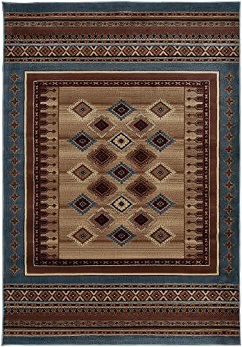 Rizzy Home Bellevue Collection Polypropylene Area Rug, 9 2 x 12 6 , Tan Ivory Brown Blue Burgundy Southwest Tribal