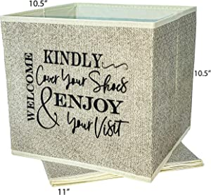 Open House Must Have. Stylish Folding Bootie Bin with Sign Asking Visitors to Cover Shoes, Just Fill with Disposable Shoe Covers. Great for Realtors & for Sale by Owners. Real Estate Supplies. Beige.