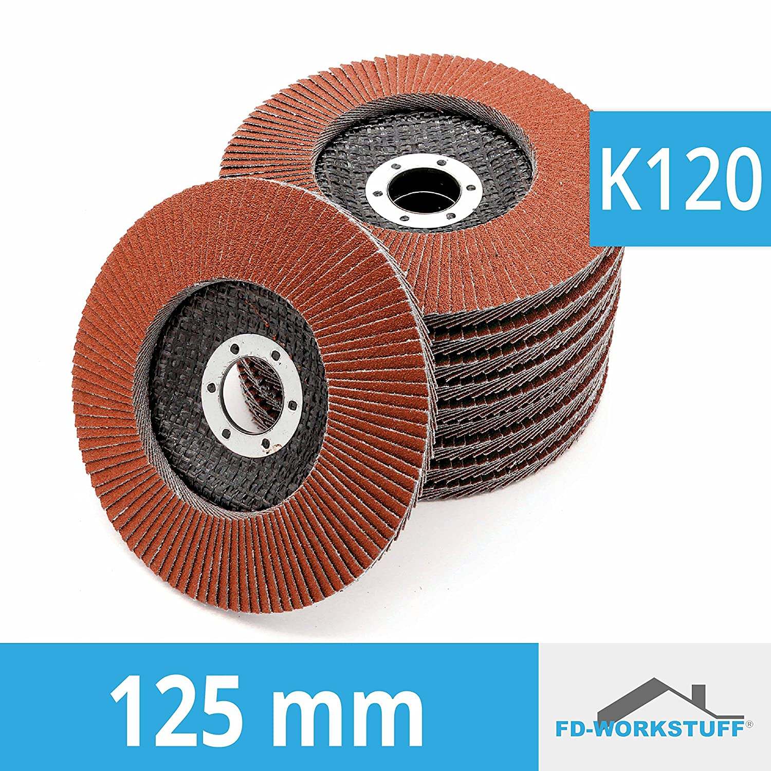 Brown Abrasive Mop Discs 120/ Grit Flap Discs 125/ mm Pack of 10/ Serrated Washers