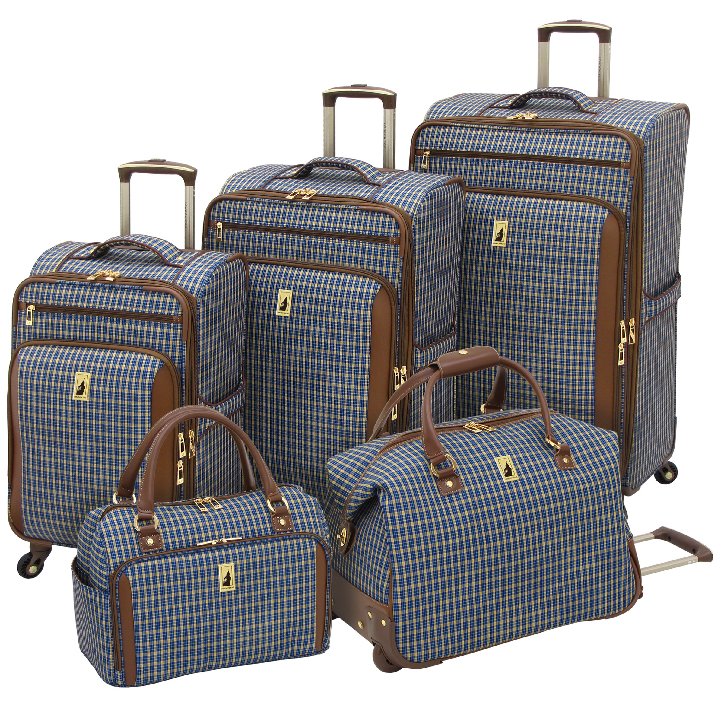 London Fog Kensington 25 Inch Expandable Spinner, Blue Tan Plaid, One Size by London Fog (Image #2)