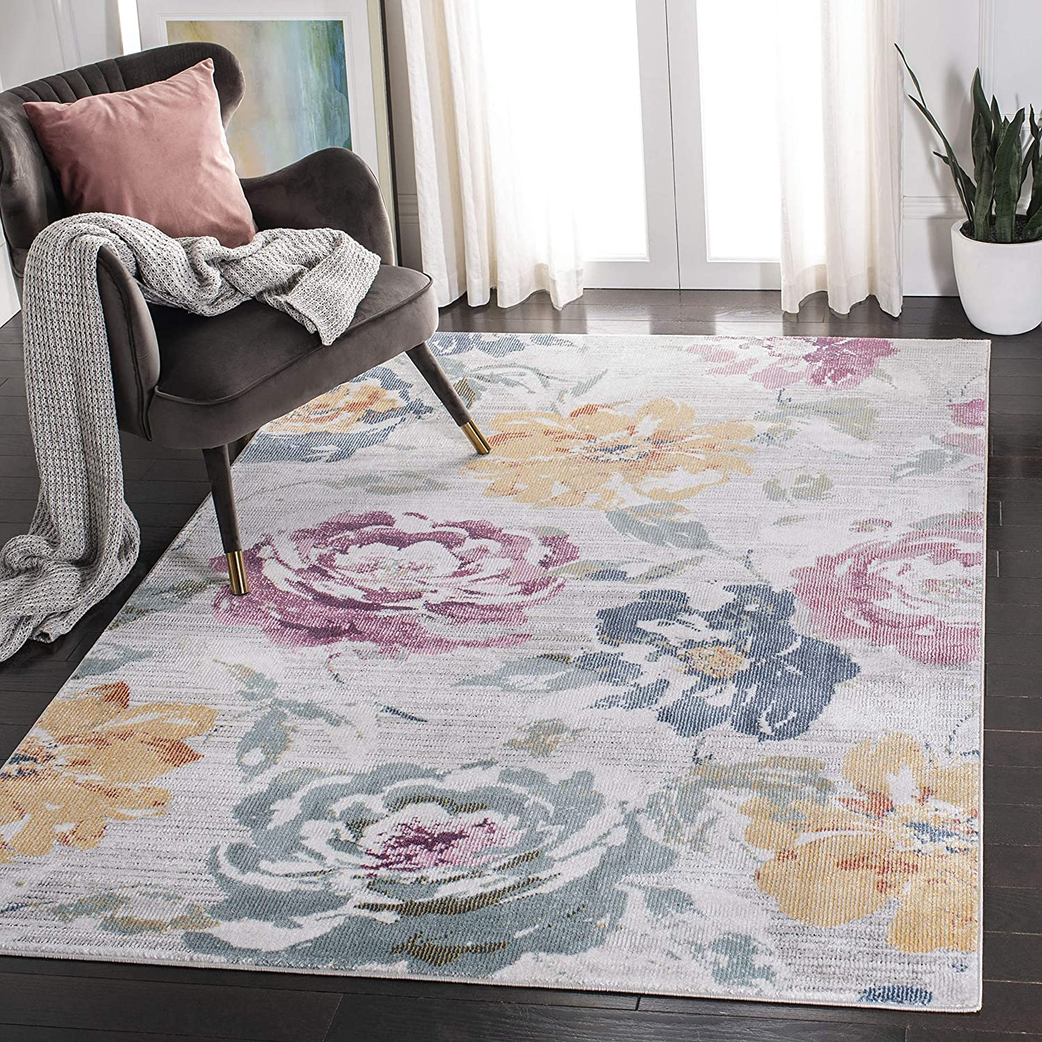 Amazon Com Safavieh Porcello Collection Prl997f Boho Floral Distressed Non Shedding Stain Resistant Living Room Bedroom Area Rug 9 X 12 Grey Yellow Furniture Decor