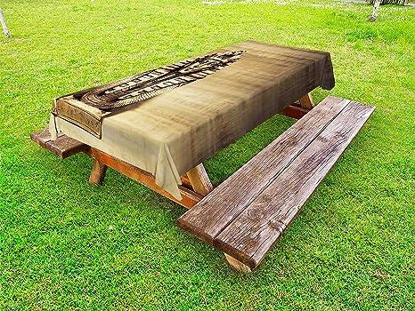 Amazoncom Lunarable Egyptian Outdoor Tablecloth Stone Pharaoh - Stone picnic table