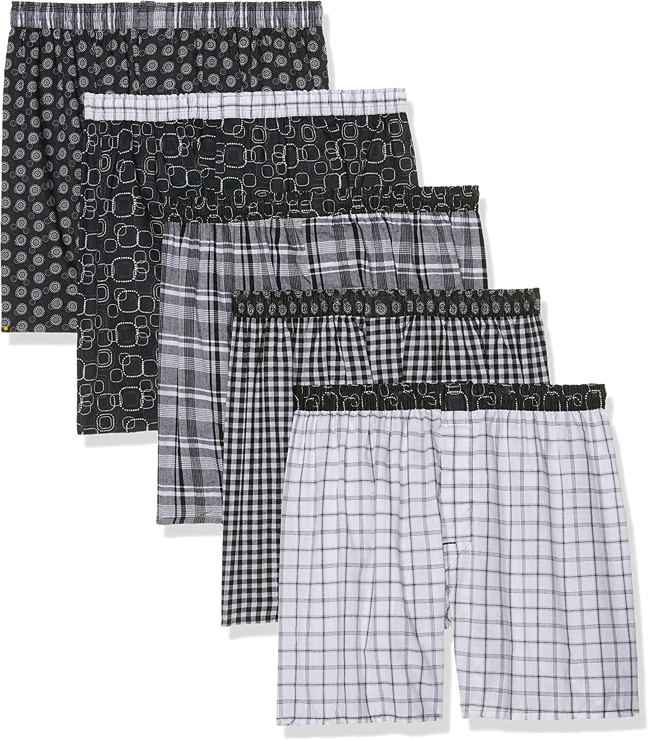 Hanes Mens Exposed Waistband Woven Boxers Shorts Underwear