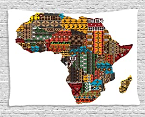 Ambesonne African Decorations Collection, Africa Map with Countries Made of Architectural Feature Popular Ancient Continent Art, Bedroom Living Room Dorm Wall Hanging Tapestry, 80 X 60 Inches, Multi