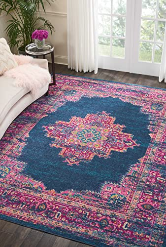 Nourison Passion Blue Contemporary Area Rug, 8 X10