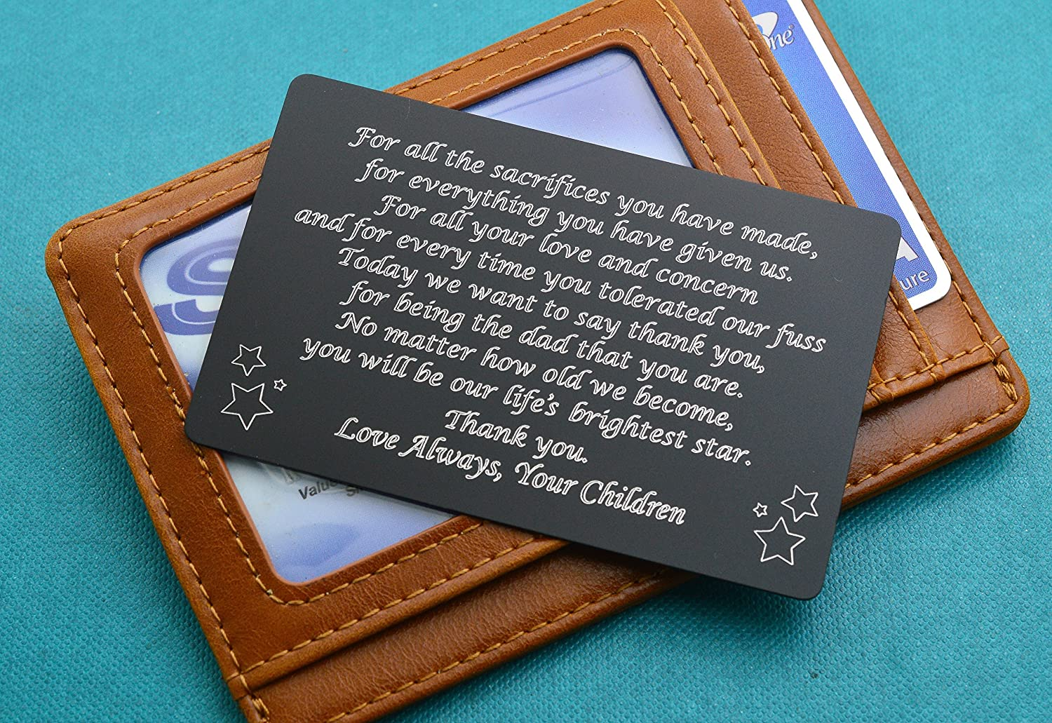 Wallet card for dad. Fathers Day Gift. Gift from children to dad. Gift for dad. Dad gift personalized
