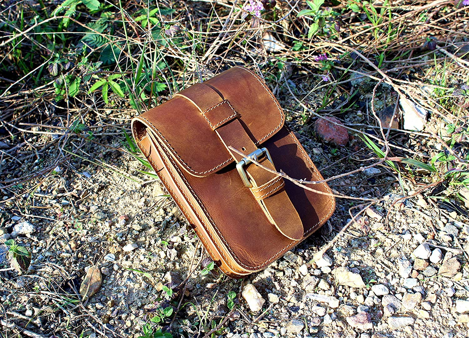 LXFF Mens Genuine Leather Waist Bag Belt Pouch Fanny Pack Hip Bum Bags for Cell Phone Vintage Brown