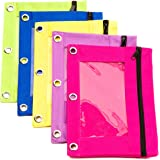 Pencil Pouch (5 Pieces) for 3 Ring Binder with Clear Window, Bright Green, Yellow, Blue, Pink, Purple