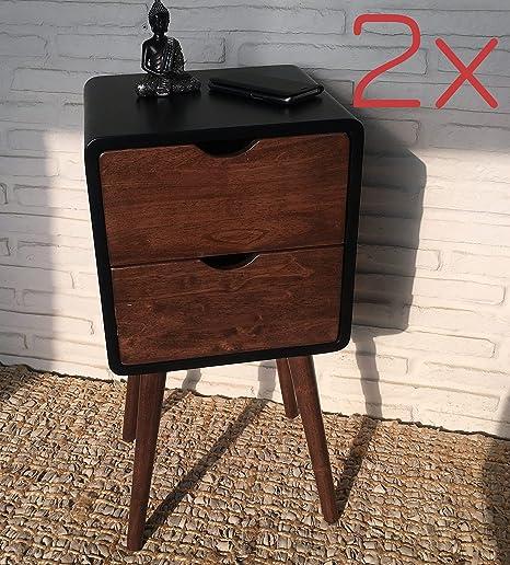 Nachttisch Kolonialstil 2x telefontisch nachttisch beistelltisch nachtschrank 2 schubladen