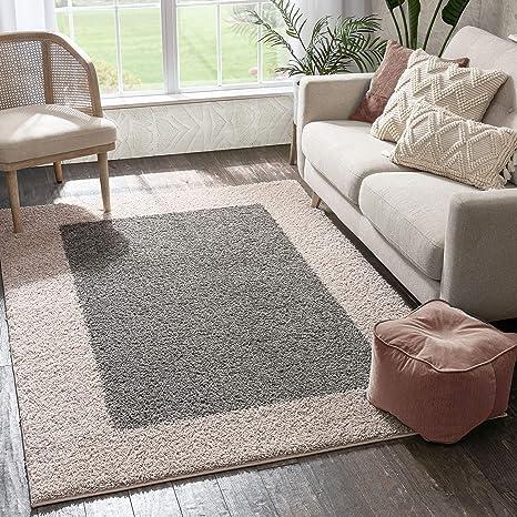 Amazon Com Porta Border Modern Geometric Shag 5x7 5 X 7 2 Area Rug Greybeige Plush Easy Care Thick Soft Plush Living Room Furniture Decor