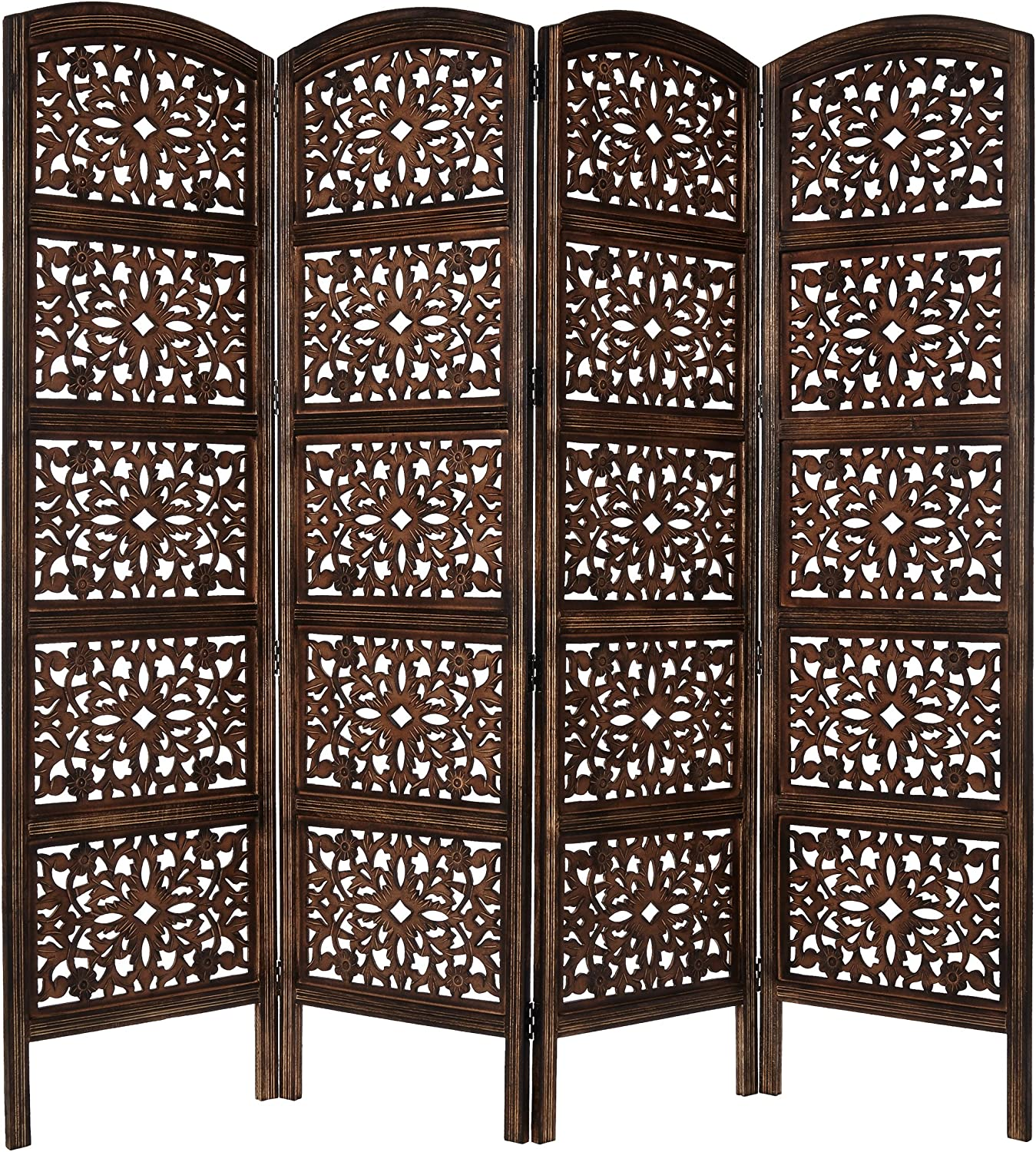 Rajasthan- Antique Brown 4 Panel Handcrafted Wood Room Divider Screen 72x80, Intricately Carved on Both Sides - Reversible- Hides clutter, Adds Décor, & Divides the Room (Antique Brown Rajasthan)