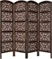Rajasthan Antique Brown 4 Panel Handcrafted Wood Room Divider Screen 72x80, Intricately carved on both sides making it fully reversible, highly versatile. Hides clutter, adds décor, & divides the room