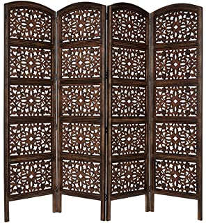 Superb Rajasthan Antique Brown 4 Panel Handcrafted Wood Room Divider Screen 72x80,  Intricately Carved On Both