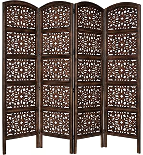 rajasthan antique brown 4 panel handcrafted wood room divider screen 72x80 intricately carved on both