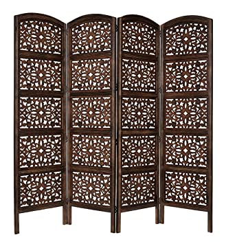 Rajasthan Antique Brown 4 Panel Handcrafted Wood Room Divider Screen 72x80,  Intricately Carved On Both