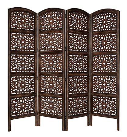 Rajasthan  Antique Brown 4 Panel Handcrafted Wood Room Divider Screen  72x80, Intricately Carved On