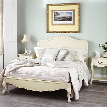 Juliette Shabby Chic Champagne 6ft Super King Bed With Wooden Headboard,  Stunning French Bed