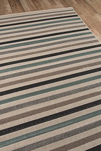 Momeni Rugs , Baja Collection Contemporary Indoor Outdoor Area Rug, Easy to Clean, UV protected Fade Resistant, 6 7 x 9 6 , Sage Brown Green