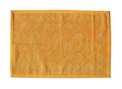 Vliving senape tappeto di cotone con stampa geometrica hamong