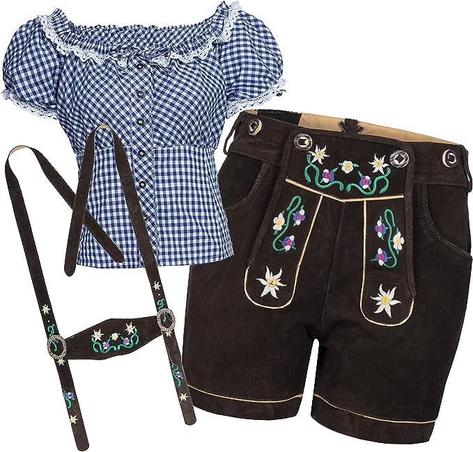 Bongossi Trade Trachtenset Damen Trachten Lederhose braun kurz mit Stickereien mit Trachtenbluse