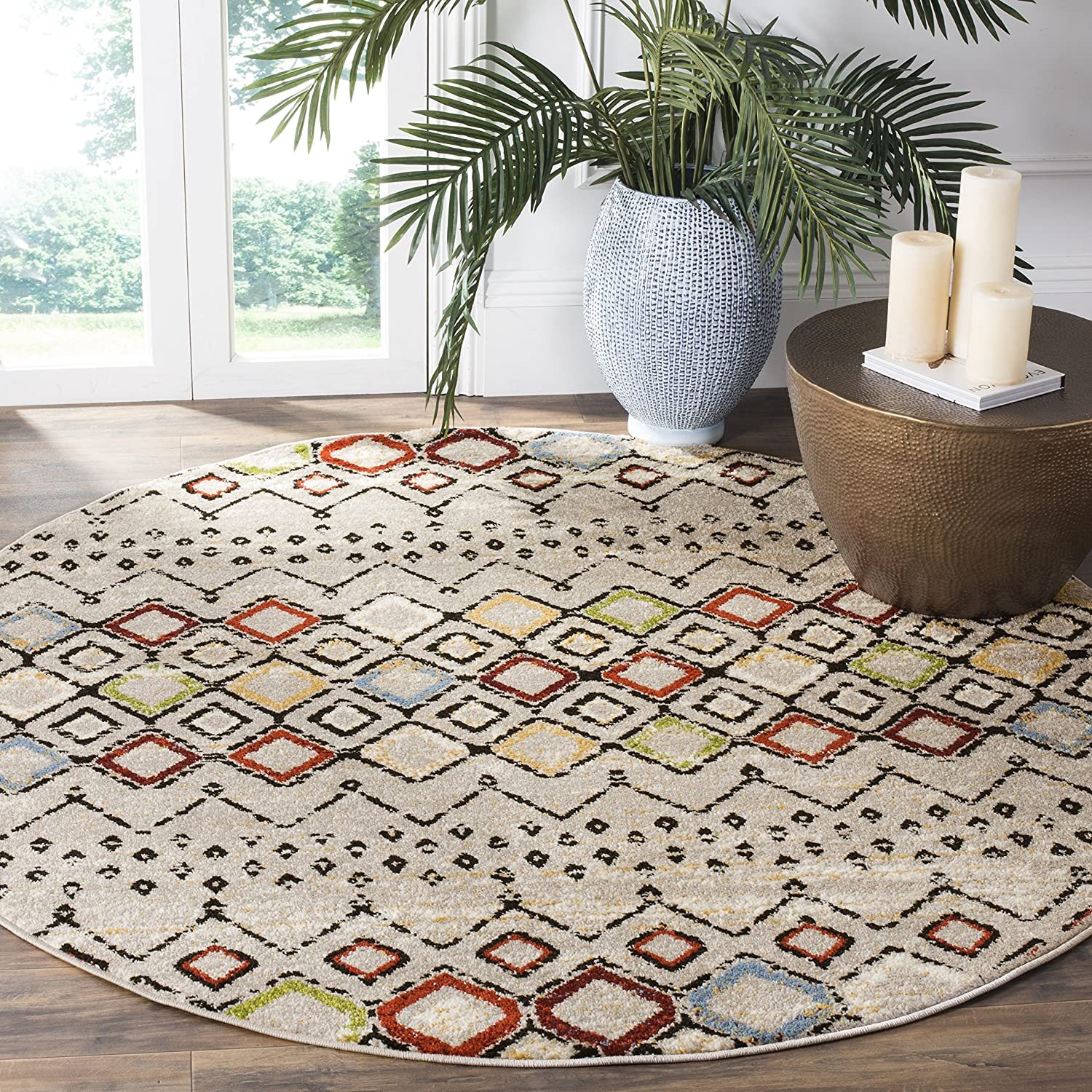 Safavieh Amsterdam Collection AMS108A Boho Chic Moroccan Distressed Area Rug, 10' x 14', Ivory/Grey