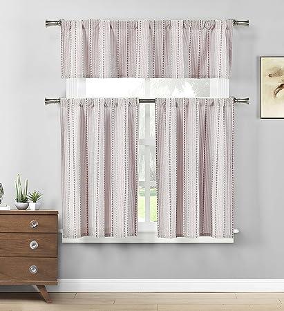 HOME MAISON - Kylie Striped Kitchen Window Curtain Tier & Valance Set, 2 29 X 36 Inch | 1 58 X 15 Inch, Burgundy Red & White