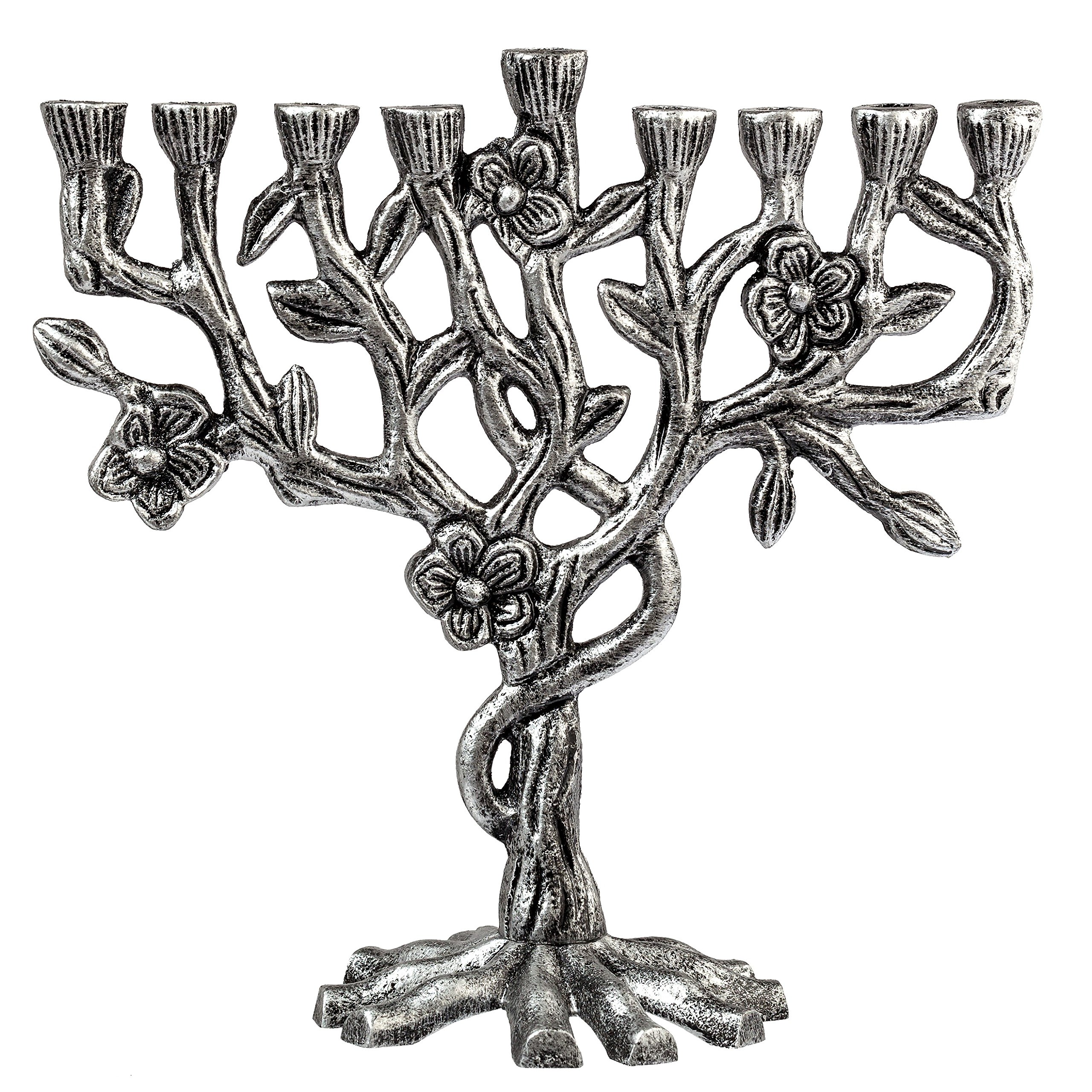 Artistic Aluminum Candle Menorah - Fits all Standard Chanukah Candles - Tree of Life Design - by Ner Mitzvah