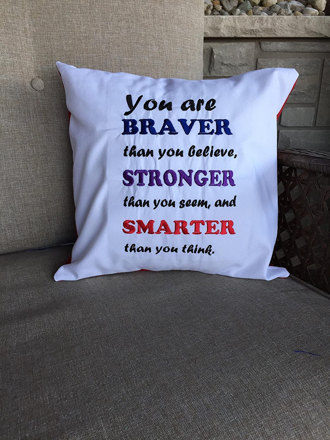 Embroidered Throw Pillow, You are braver pillow quote